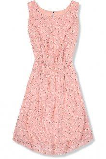 Lehké letní šaty s květinovým potiskem růžové