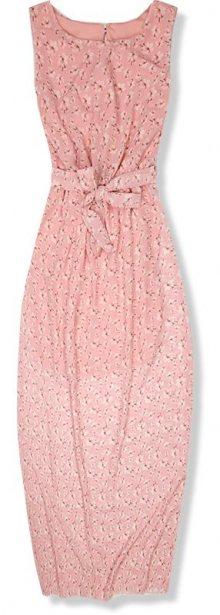 Růžové květinové maxi šaty