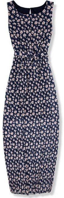 Tmavě modré květinové maxi šaty