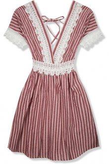 Bordó letní šaty s holými zády