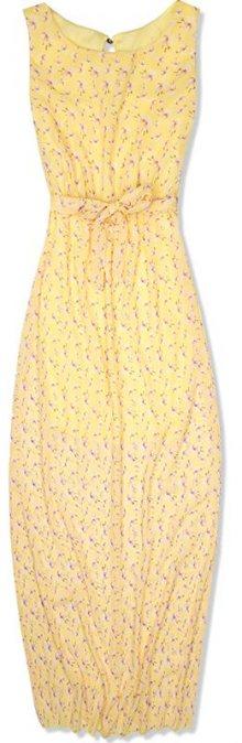 Žluté květinové maxi šaty