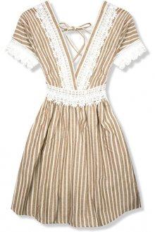 Béžové letní šaty s holými zády