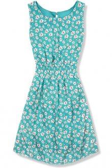 Lehké letní šaty s květinovým potiskem tyrkysové
