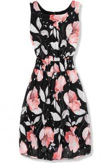 Černé elegantní šaty s květinovým vzorem