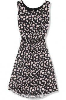 Lehké letní šaty s květinovým potiskem černé