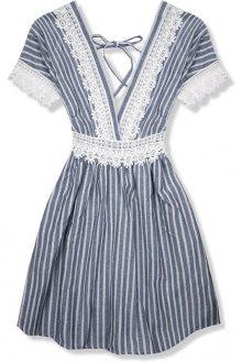 Tmavě modré letní šaty s holými zády