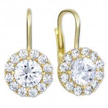 Brilio Zlaté náušnice s čirými krystaly 239 001 00979