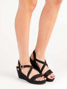 Trendy  sandály černé dámské na klínku