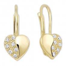 Brilio Zlaté srdíčkové náušnice s krystaly 239 001 00880