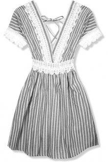 Šedé letní šaty s holými zády