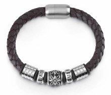 Guess Pánský hnědý kožený náramek UMB85010
