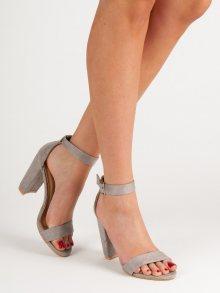 Krásné dámské šedo-stříbrné  sandály na širokém podpatku