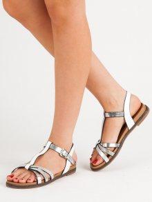 Komfortní  sandály dámské bílé bez podpatku