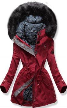 MODOVO Dámská zimní bunda s kapucí PO-730 bordó