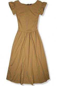 Světle hnědé elegantní midi šaty