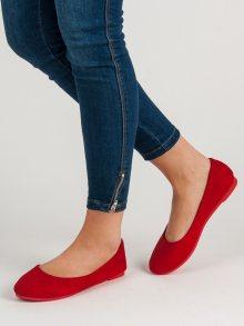 Originální  baleríny dámské červené bez podpatku