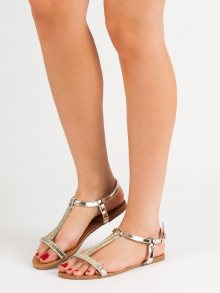 Designové zlaté  sandály dámské bez podpatku