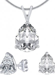 Silvego Stříbrný set šperků s čirým křišťálem JJJS8888 (náušnice, přívěsek)