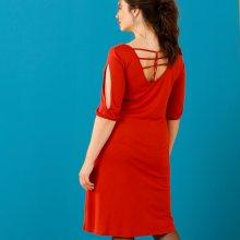 Šaty se šněrováním vzadu, paprikové červená 42/44