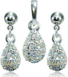 MHM Souprava šperků Kapka M4 Crystal AB 3484 (náušnice, řetízek, přívěsek)