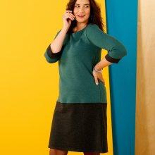 Šaty se 3/4 rukávy, dvoubarevné zelená/černá 54