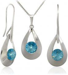 MHM Souprava šperků Karen 2 Aquamarine 34167 (náušnice, řetízek, přívěsek)
