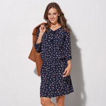 Šaty s potiskem květin námořnická modrá/růžová 38