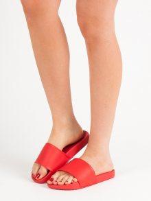 Stylové červené dámské  nazouváky bez podpatku