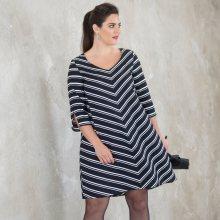 Rozšířené šaty s pruhy černá/bílá 42