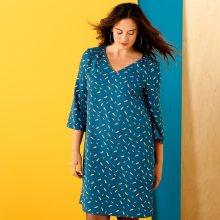 Rovné šaty s potiskem modrá/medová 42