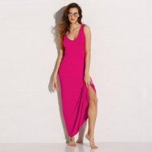 Dlouhé jednobarevné šaty tmavě růžová 42/44