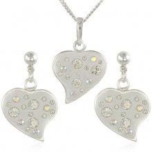 MHM Souprava šperků Srdce M6 Crystal 34173 (náušnice, řetízek, přívěsek)