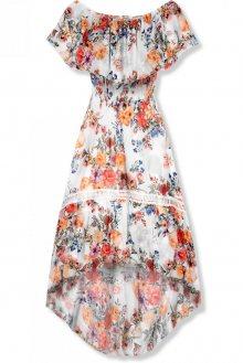 Bílé asymetrické květinové šaty