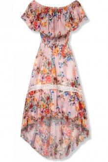 Růžové asymetrické květinové šaty