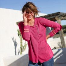 Asymetrický svetr na zip růžová 42/44