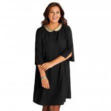 Šaty s límečkem s flitry černá 48