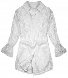 Bílá košile z děrovaného materiálu
