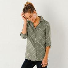 Blancheporte Dvoubarevná košile s potiskem a dlouhými rukávy šedá 46