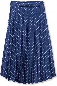 Tmavě modrá skládaná midi sukně
