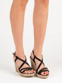 Trendy černé  sandály dámské na klínku