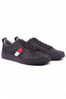 Tommy Hilfiger černé pánské kožené tenisky Flag Detail Leather Sneaker Black - 41