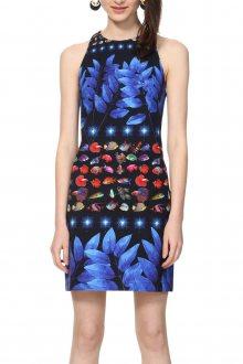 Desigual modré šaty Vest Martina s barevnými motivy - 38