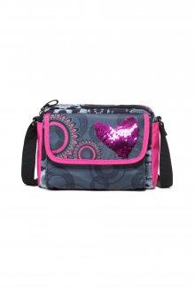 Desigual černá dětská kabelka Tamarillo s růžovými prvky