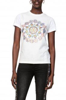 Desigual bílé tričko TS Annette s barevnými motivy - XS