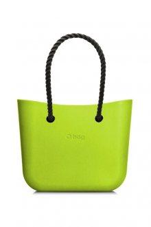 O bag kabelka MINI Apple Green/Mela s černými dlouhými provazy