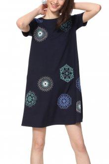 Desigual tmavě modré šaty s mandalami Vest Liricaa - XS