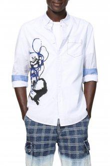 Desigual bílá pánská košile Cam Barclay - M