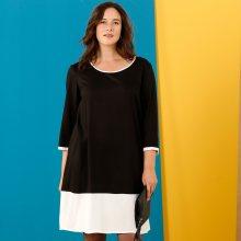 Dvoubarevné šaty černá/režná 56
