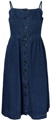 Vero Moda Dámské šaty Flavia Strap Button Midi Dress Medium Blue Denim XS