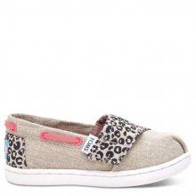 Toms béžové dětské boty Bimini Cheetah Metallic Linen - 23,5